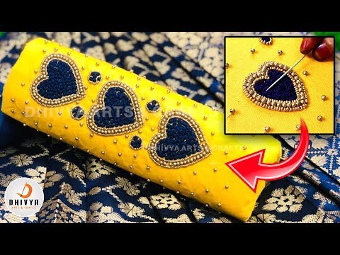 amazing blouse design at home   aari work for beginners   normal needle hand embroidery   #306 video download