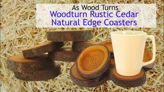 Woodturn Rustic Cedar Natural Edge Coasters