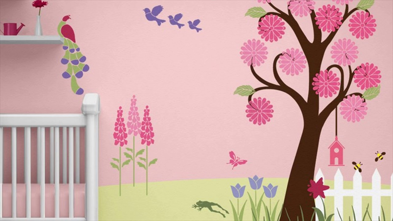 Wall decoration with flowers for kids rooms youtube for Baby name nursery decoration
