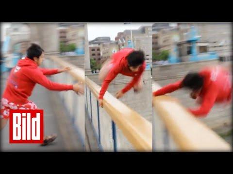YouTuber Carnage springt von Tower Bridge und ertrinkt fast ( Challenge / London / Idiot )