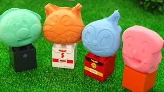 アンパンマン おもちゃアニメ ねんどで新しい顔に変身 ブロックラボ Anpanman Block Labo Clay Face thumbnail