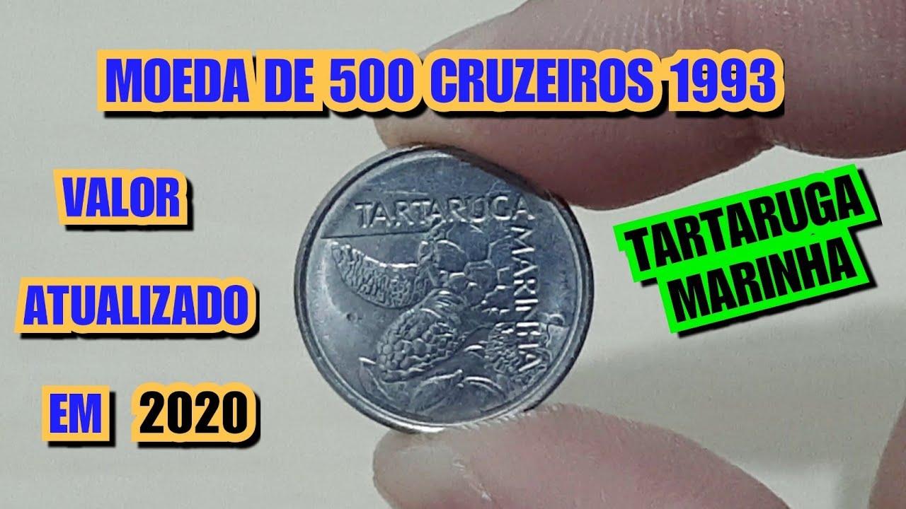 MOEDA DE 500 CRUZEIROS 1993 - TARTARUGA MARINHA - VALOR ATUALIZADO EM 202O
