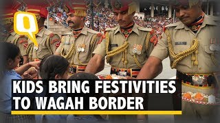 Kids Show Their Love, Tie Rakhis to BSF Soldiers at Wagah Border - The Quint