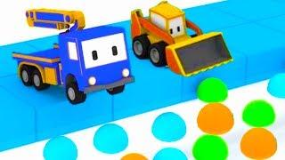 Zabawa w chowanego -  ucz się z Małymi Samochodzikiami: buldożer, dźwig, koparka
