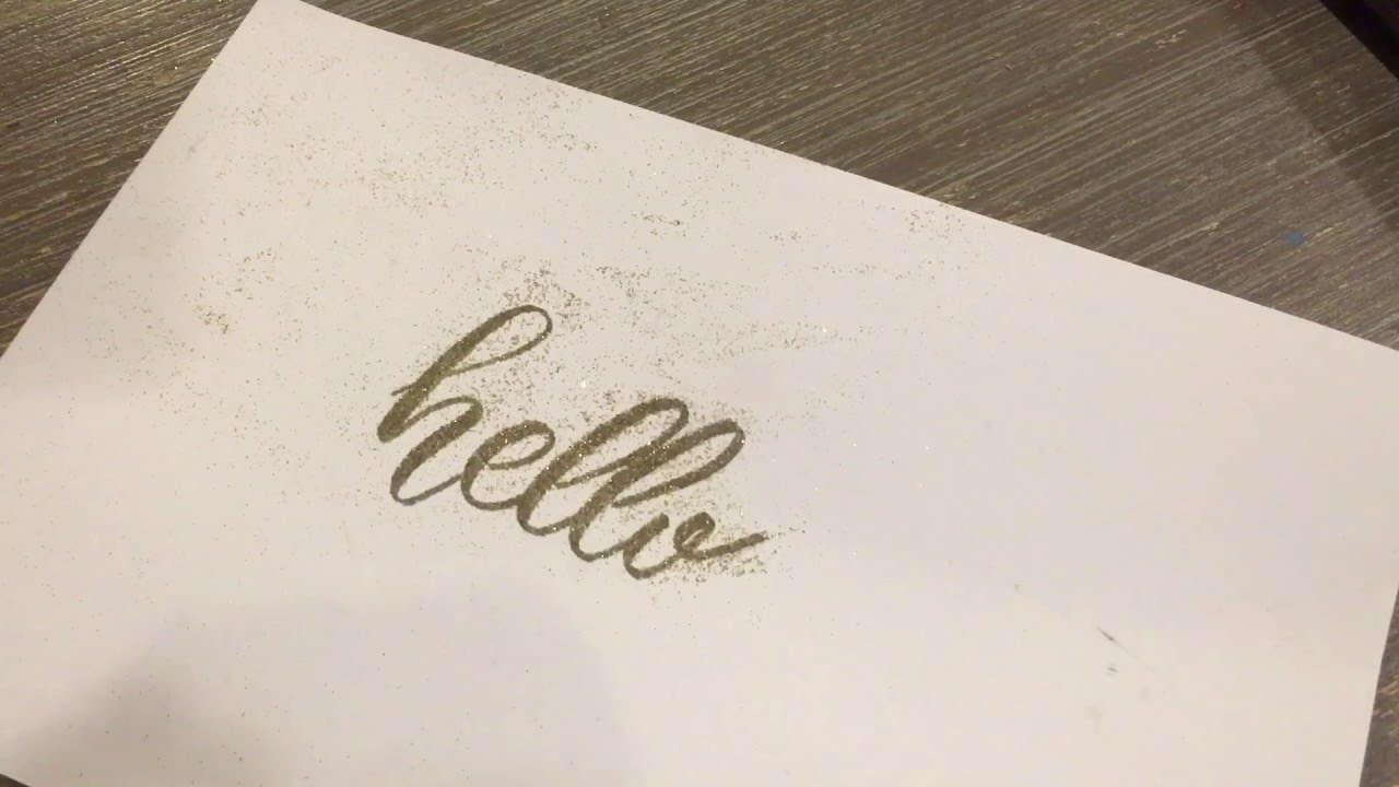 How to use embossing gold glitter with modern calligraphy Calligraphy youtube