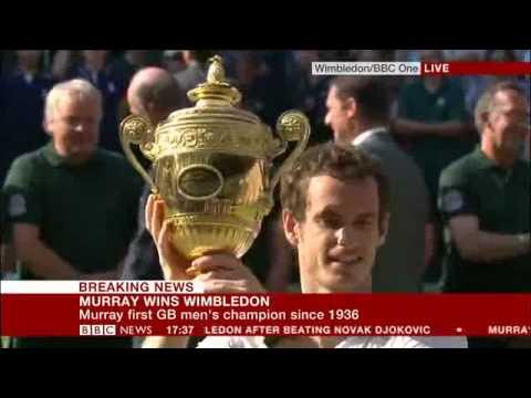 Andy Murray Wins Wimbledon Live on BBC NEWS, Inc Winning match