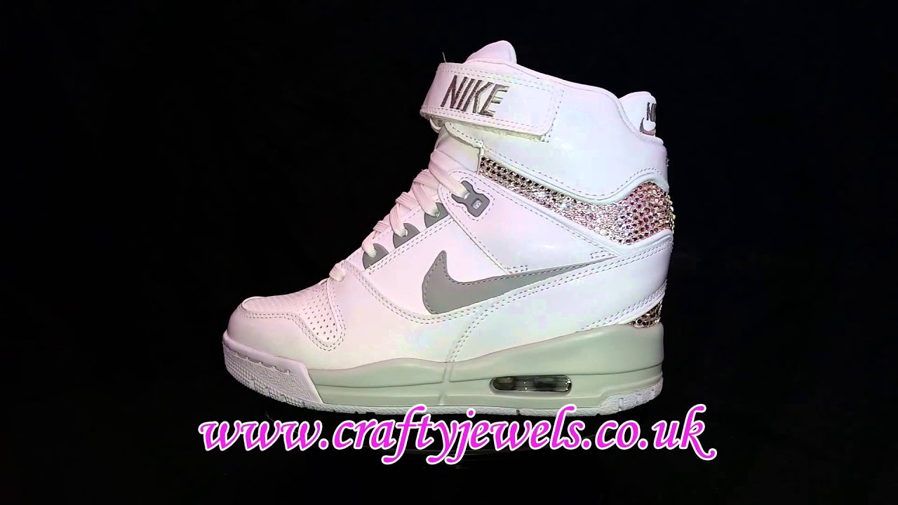Nike Revolution Sky Hi Crystalised w Swarovski Crystals - YouTube 70a80fe22