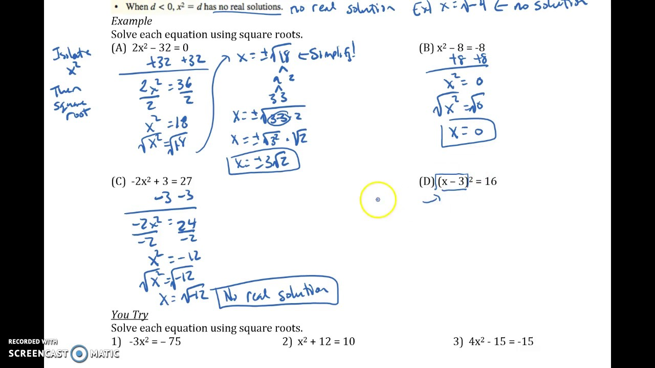 9.3 Solving Quadratic Equations with Square Roots - YouTube
