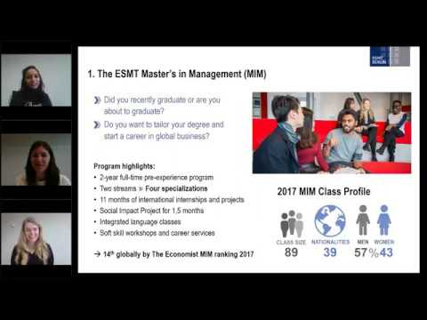 ESMT Berlin webinar - MIM students share their insights