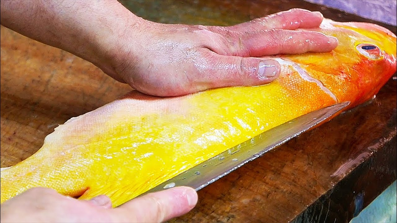 Japanese Street Food - YELLOW GROUPER Cooked Two Ways Okinawa Seafood Japan