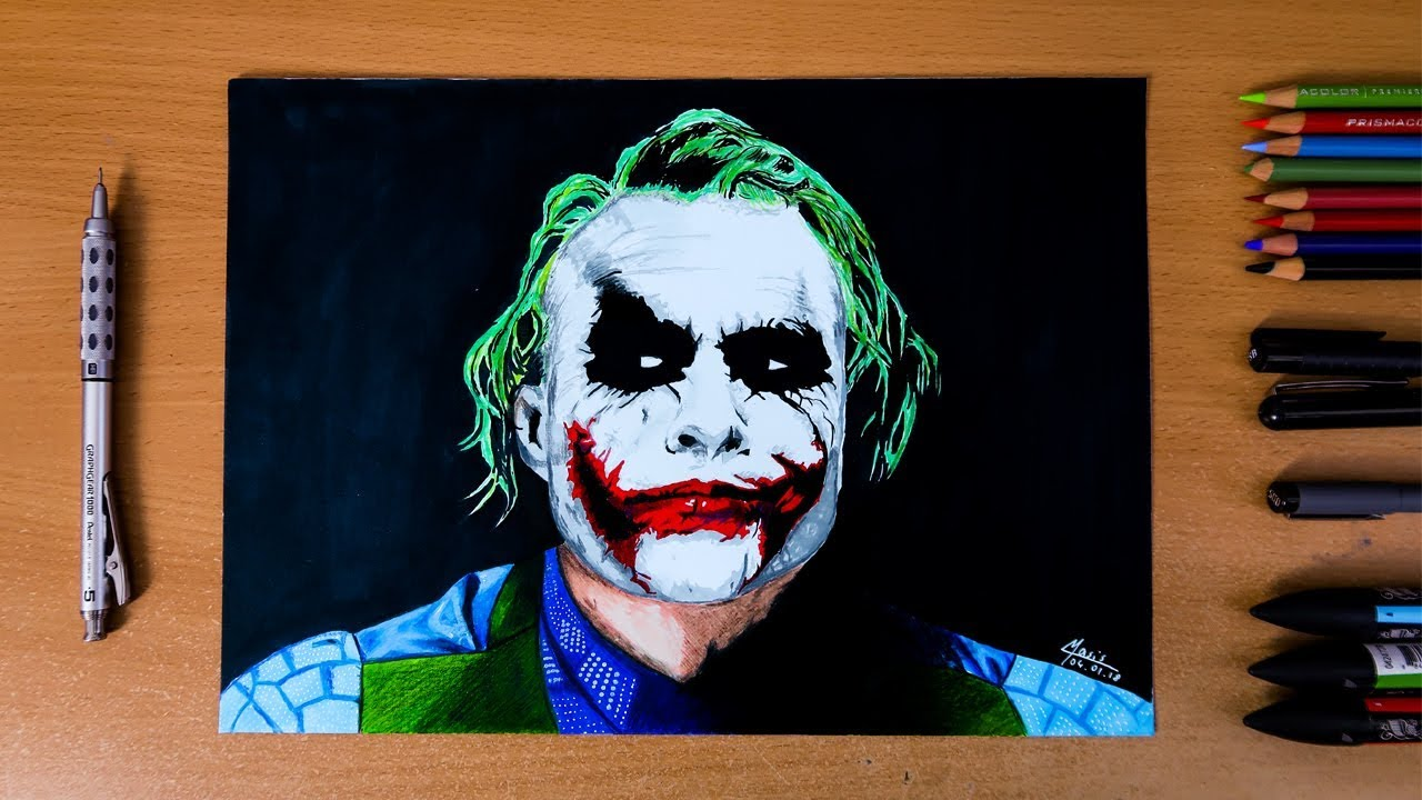 The Dark Knight The Joker Heath Ledger Speed Drawing Youtube