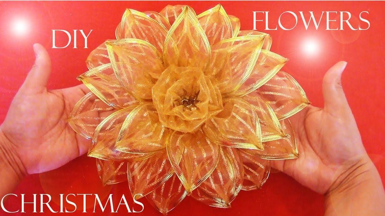 Diy mo os navide os christmas flowers youtube for Monos navidenos