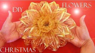 Moños Navideños Con Flores En Cintas De Organza Cantinho Do Video