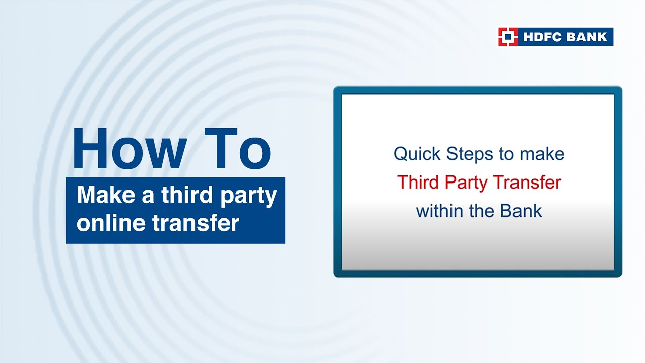 how to transfer money online from hdfc bank account to another