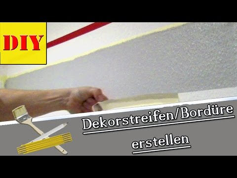 w nde streichen mit streifenmuster dekorstreifen bord re youtube. Black Bedroom Furniture Sets. Home Design Ideas