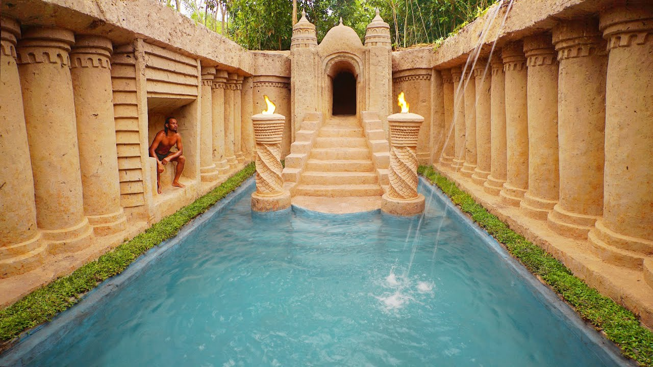 107 Days Build The Most Wonderful Underground Waterfall into Swimming Pool House