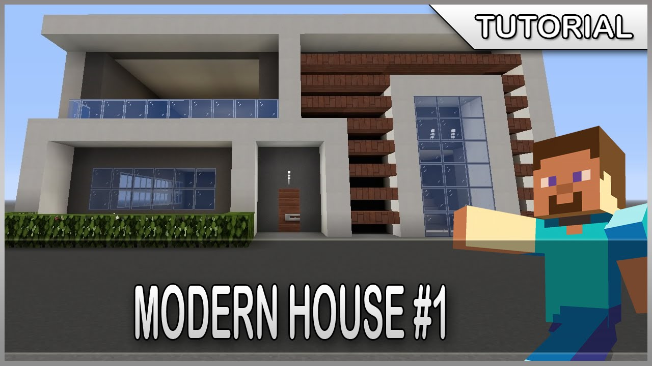 Minecraft how to build a easy and simple modern house 1 for How to make a house step by step