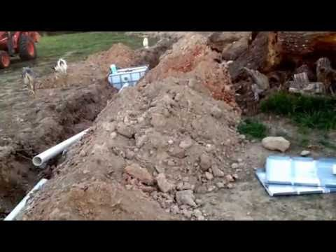 Septic lines being dry fitted on www.offgridhomesteading.com