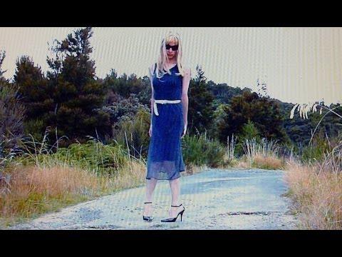 Crossdressing: Black chiffon polka dot dress