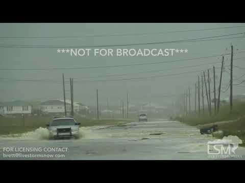 10-7-2017 Dauphin Island, AL Hurricane Nate Floods Roads With Rushing Water And Debris