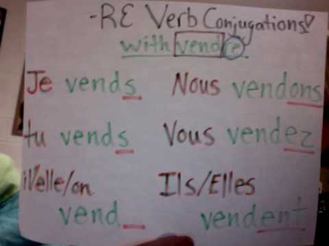 French RE verb conjugations song