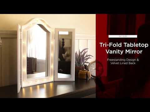 SKY3225 Tri-Fold Tabletop Vanity Mirror w/ LED Lights