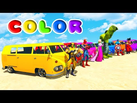 FUN LEARN COLORS VAN & HEAVY TRUCK w/ Superheroes for Children Nursery Rhymes
