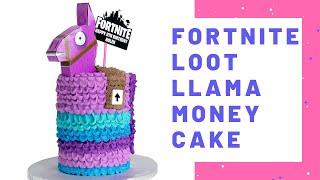 Fortnite Loot Llama Money Piñata Cake. Vertical pedal buttercream