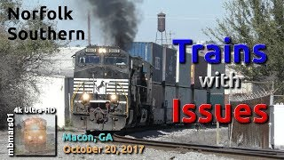 [5W][4k] Norfolk Southern Trains with Issues, Macon, GA 10/20/2017 ©mbmars01