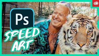 "In this #unsolicitedphotoshop #speedart video i mashup joe exotic from the netflix series ""tiger king"" with democratic nominee joseph biden.en..."