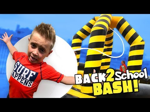 Little Flash Back to School Bash!!! (Giant Inflatable Wrecking Ball Challenge!)