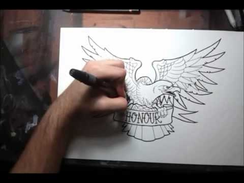 How to draw an Old School Eagle Tattoo Design by thebrokenpuppet - Amazing drawing - Amazing drawing