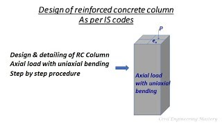 Structural design# Design of RC Column| Axial load with uniaxial bending about major axis