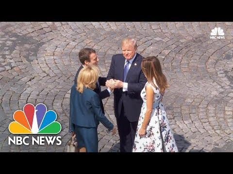 President Donald Trump and Emmanuel Macron Have Marathon Handshake | NBC News