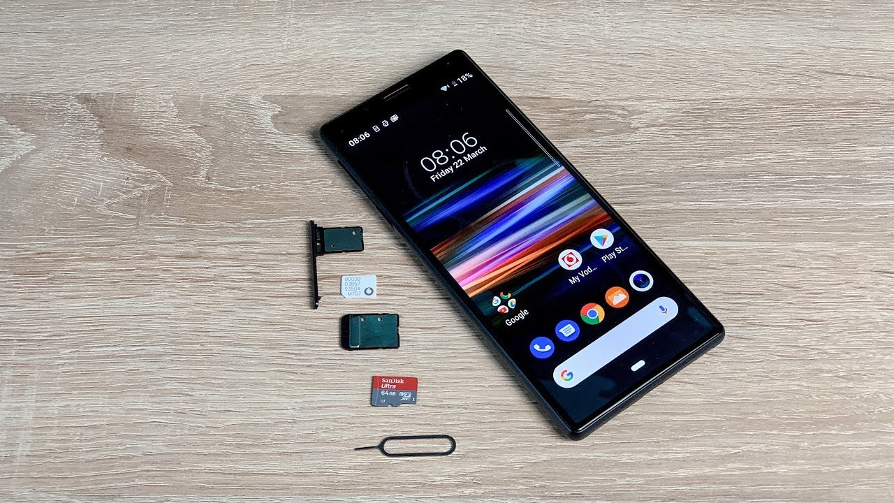 How to insert sim and SD card into Sony Xperia 10 - YouTube
