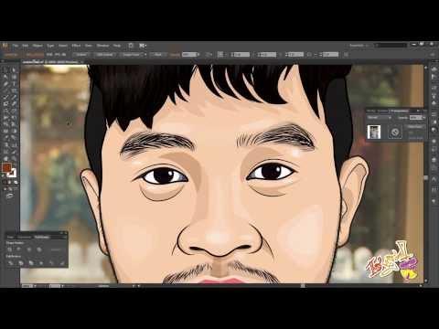การวาดภาพล้อเลียนด้วยโปรแกรม Adobe Illustrator ขั้นที่1 ส่วนหัว