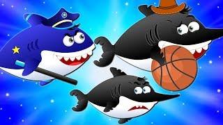 Flying shark stolen baby Shark's toys rescue by Police Shark | Kids Cartoon Songs