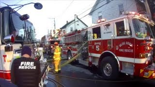Rescue and Truck 50 Assist 90 on Christmas Day House Fire *Helmet Cam* (Screaming Q and Horns!)