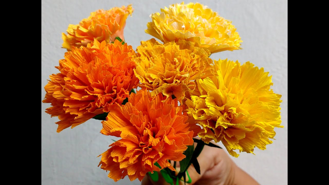 How To Make Paper Flowers Marigold Genda Phool Flower 73 Youtube