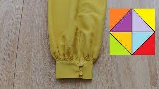 Обработка манжета рукава на блузке