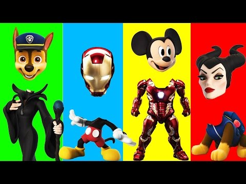 Thumbnail: Wrong Heads Iron Man - Paw Patrol - Mickey Mouse - Maleficent Finger Family Colors Learn
