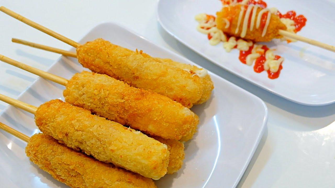 ฮอทดอกชีสยืด คอร์นด็อกชีส  อาหารเกาหลีริมทาง