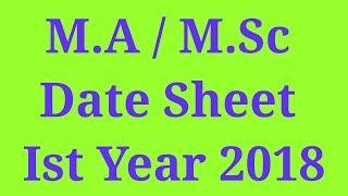 M.A / M.Sc Part 1 Date Sheet Anual 2018 Punjab University