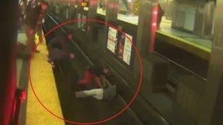 Boston subway rescue: three men leap onto tracks to rescue fallen rider