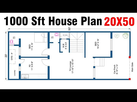 1000 Square Feet House Plan 2bk 20 X 50 House Plan House Plan 2020 Youtube