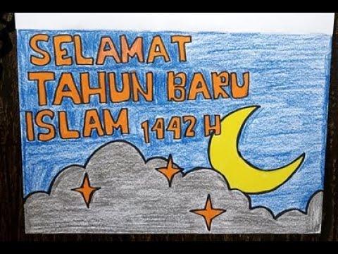 Cara Menggambar Tema Tahun Baru Islam 1 Muharram 1442 Hijriyah Selamat Tahun Baru Youtube