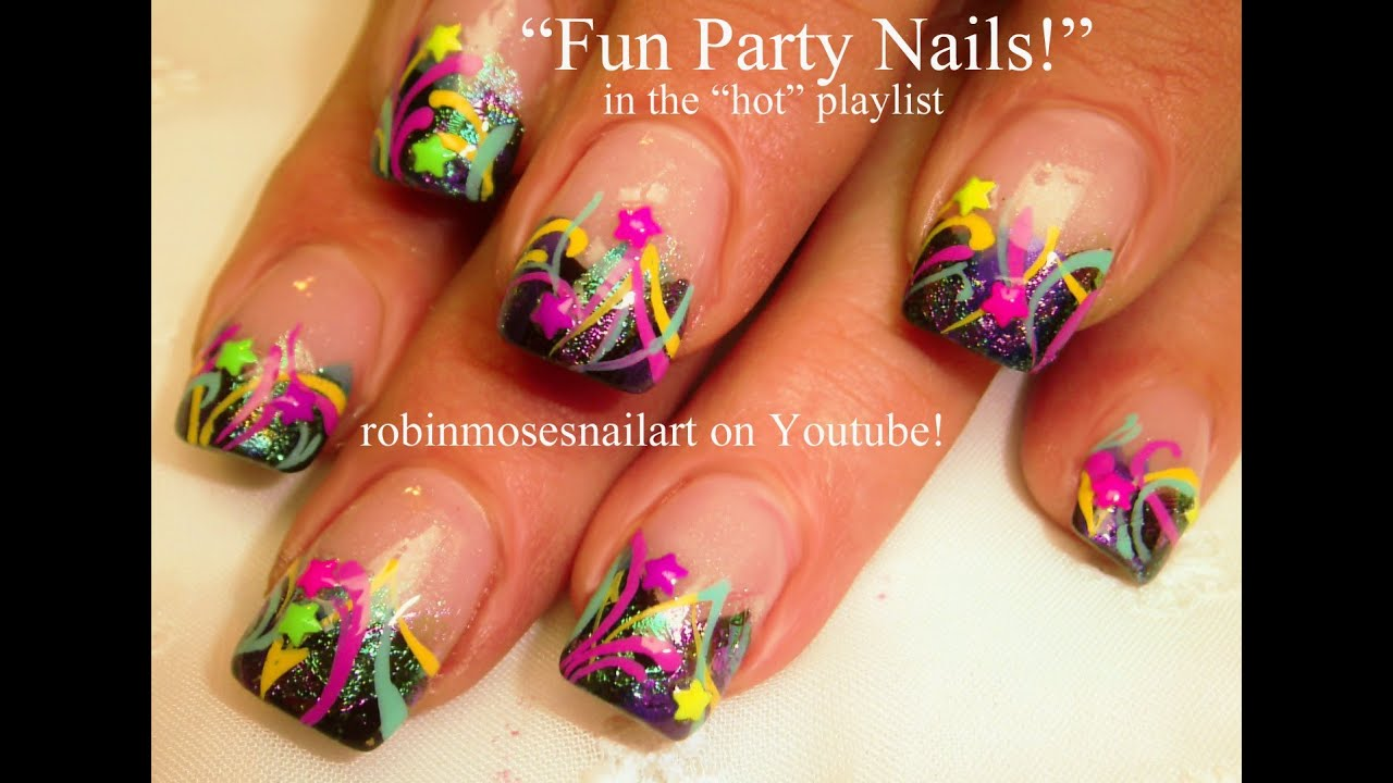 Easy Birthday Nail Art design tutorial - YouTube