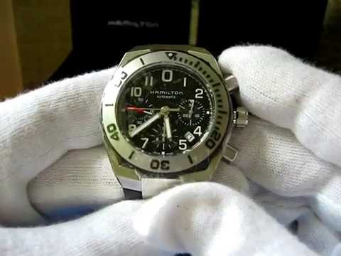 Hamilton H78716333 Men S Khaki Navy Sub Auto Chrono Watch
