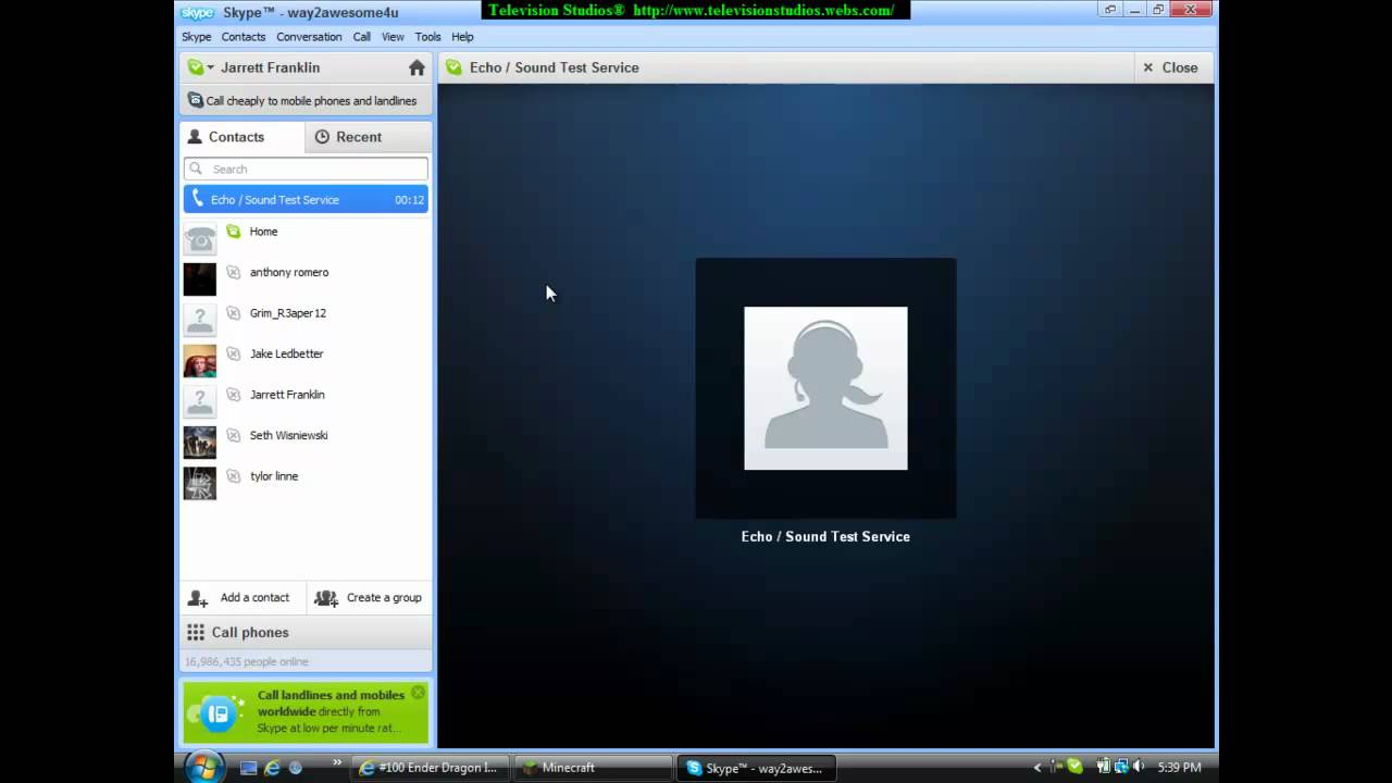 Skype: Echo-Sound Test Service: Funny Test - YouTube