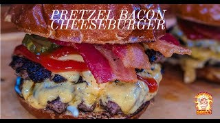 Pretzel Double Bacon Cheese Smash Burger Recipe |  burger king pretzel burger
